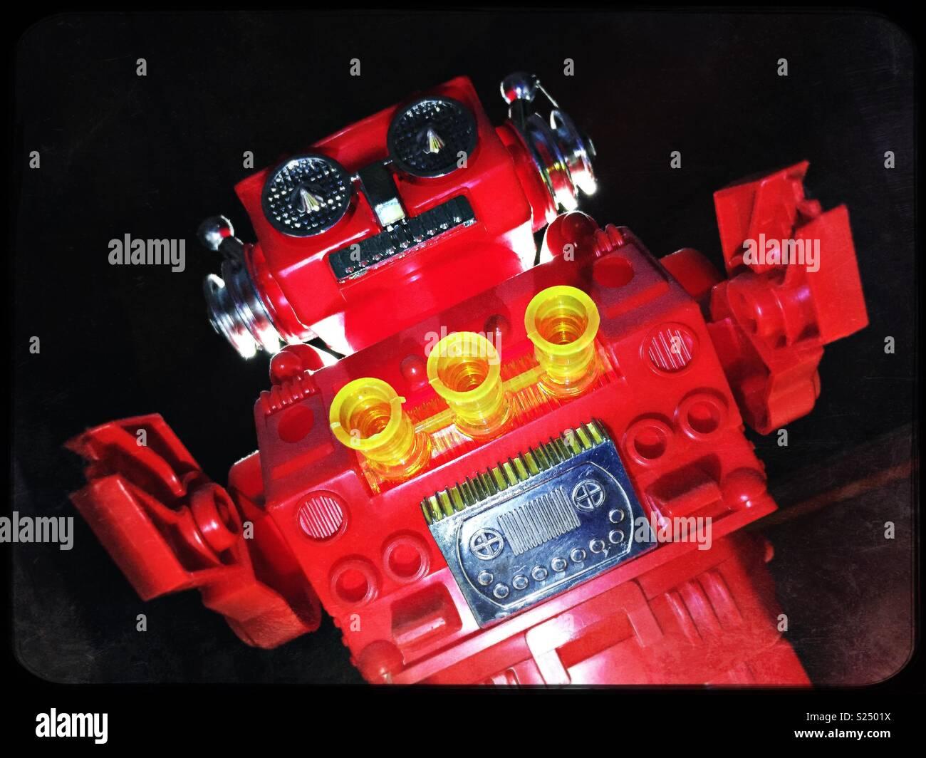 Large menacing red scary robot - Stock Image