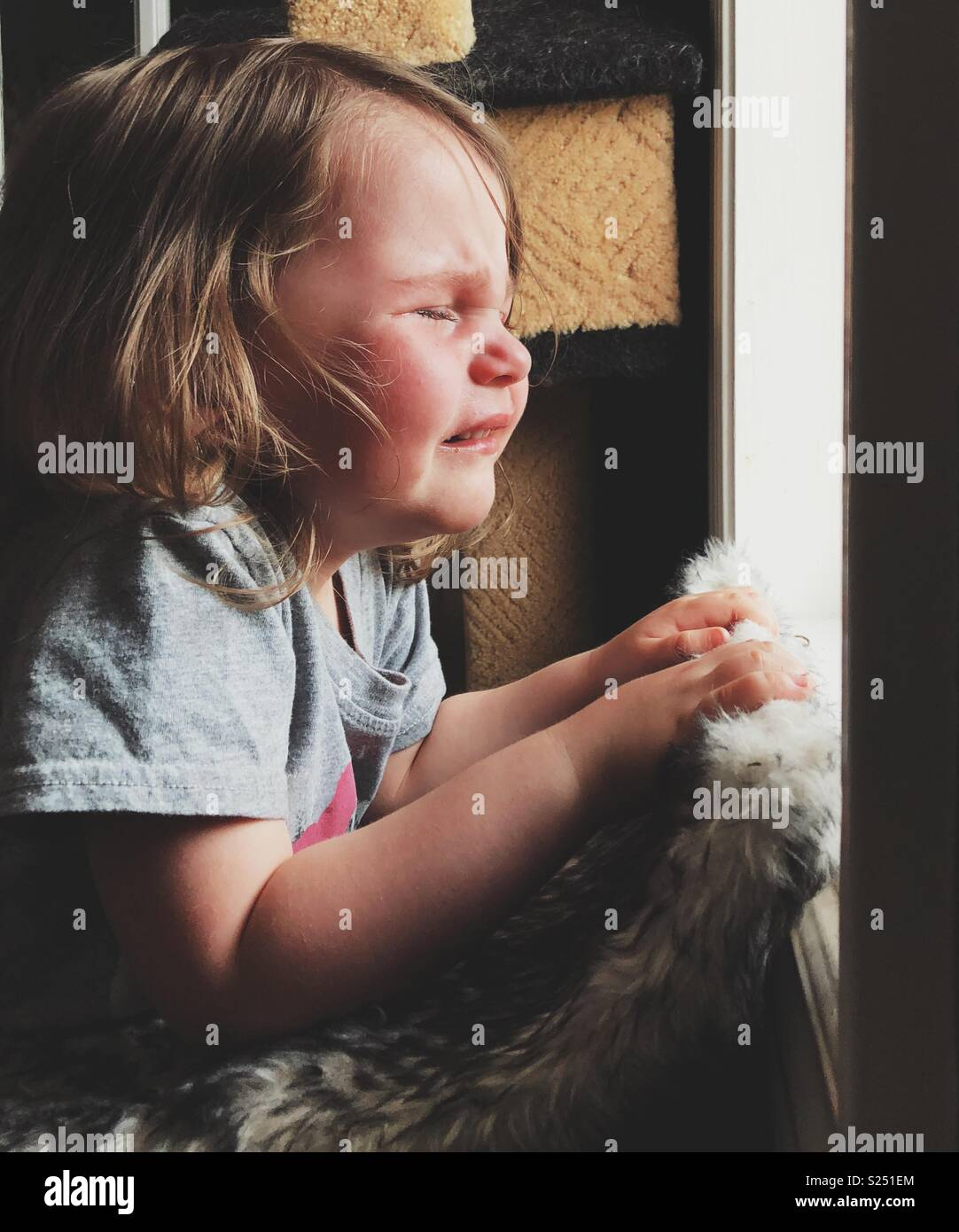 Toddler girl crying at window during a temper tantrum - Stock Image