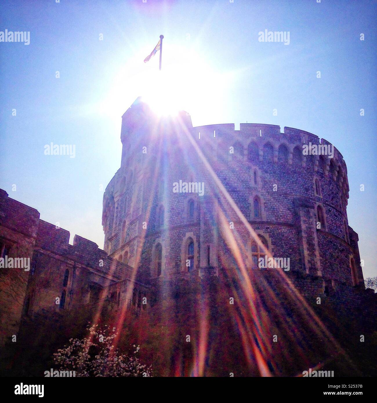 Windsor Castle in the sun. - Stock Image