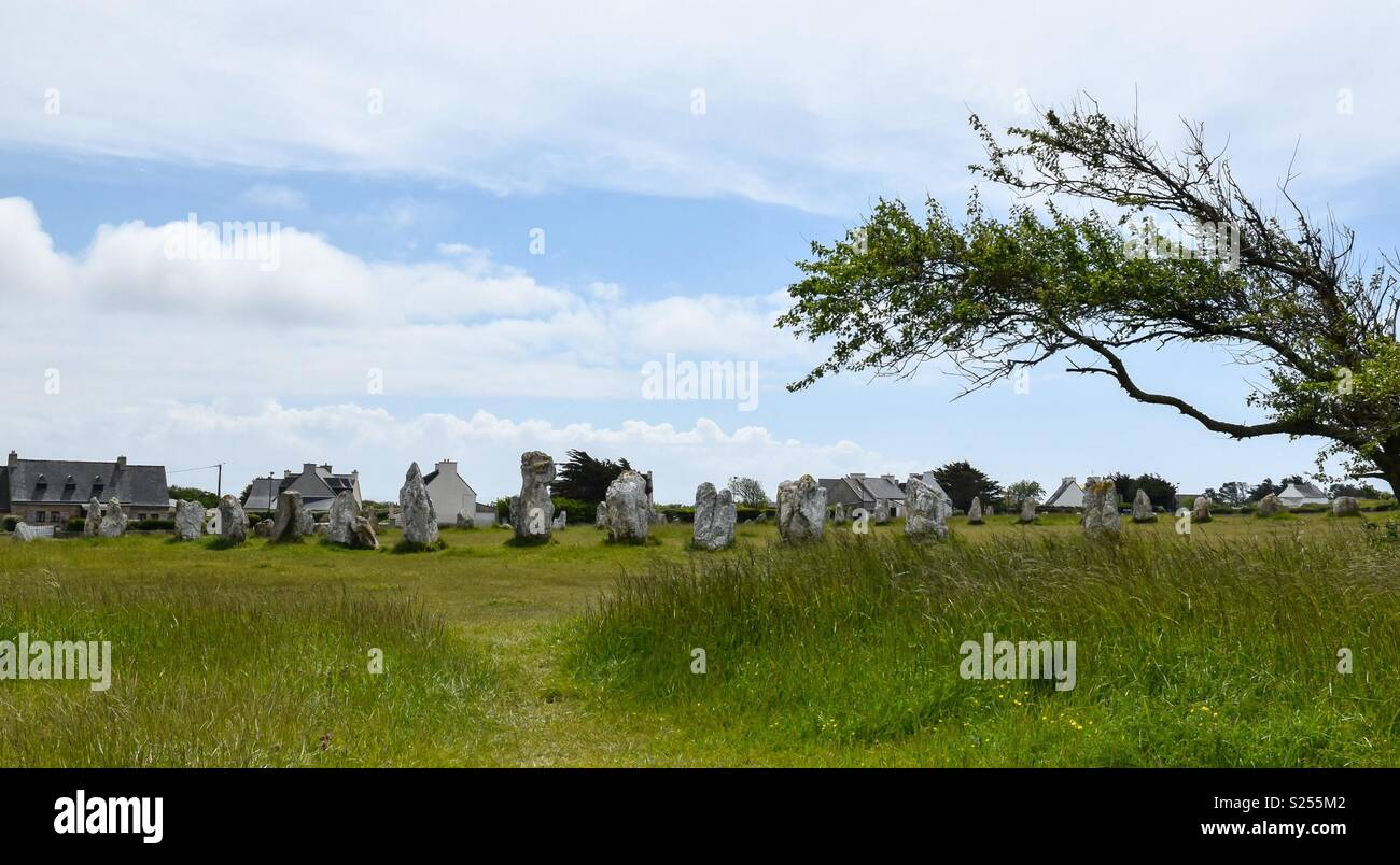 The Lagatjar Alignment near Camaret-sur-Mer in Brittany, France. - Stock Image