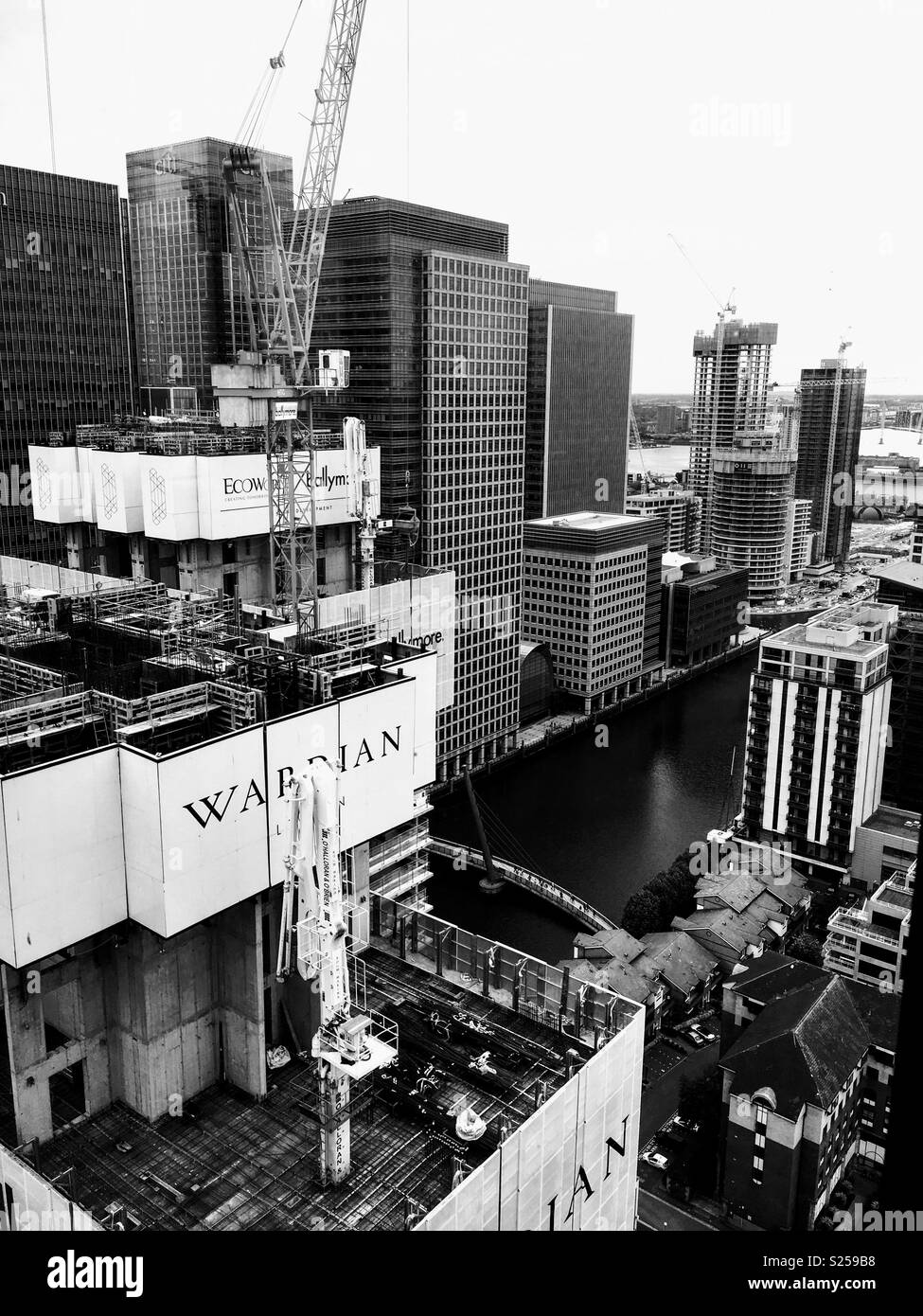 Buildings Being Constructed at Canary Wharf in London - Stock Image