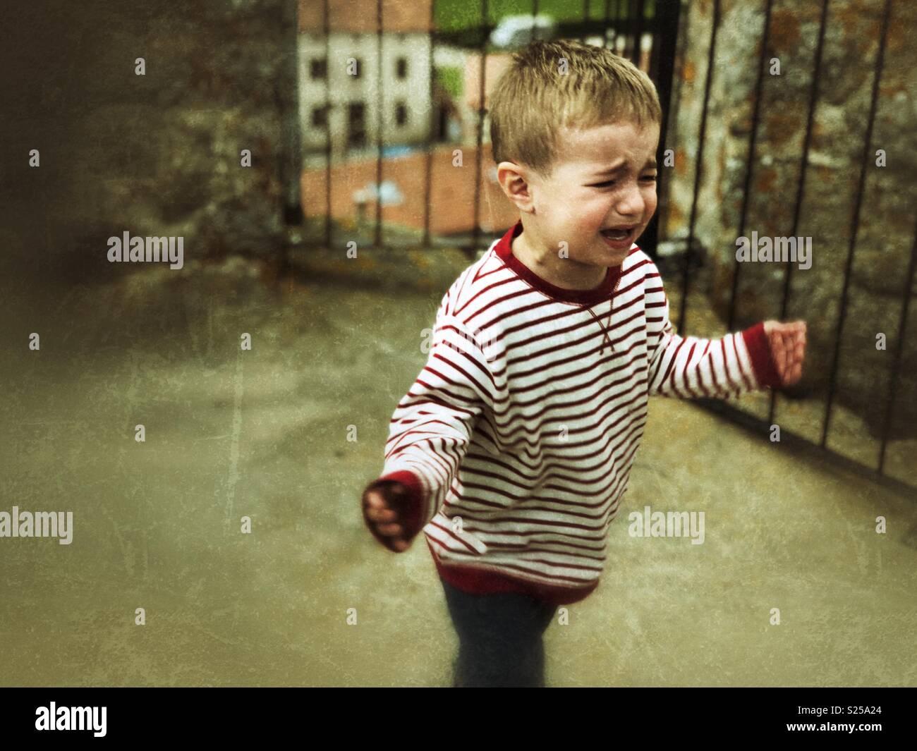 Tantrum boy - Stock Image