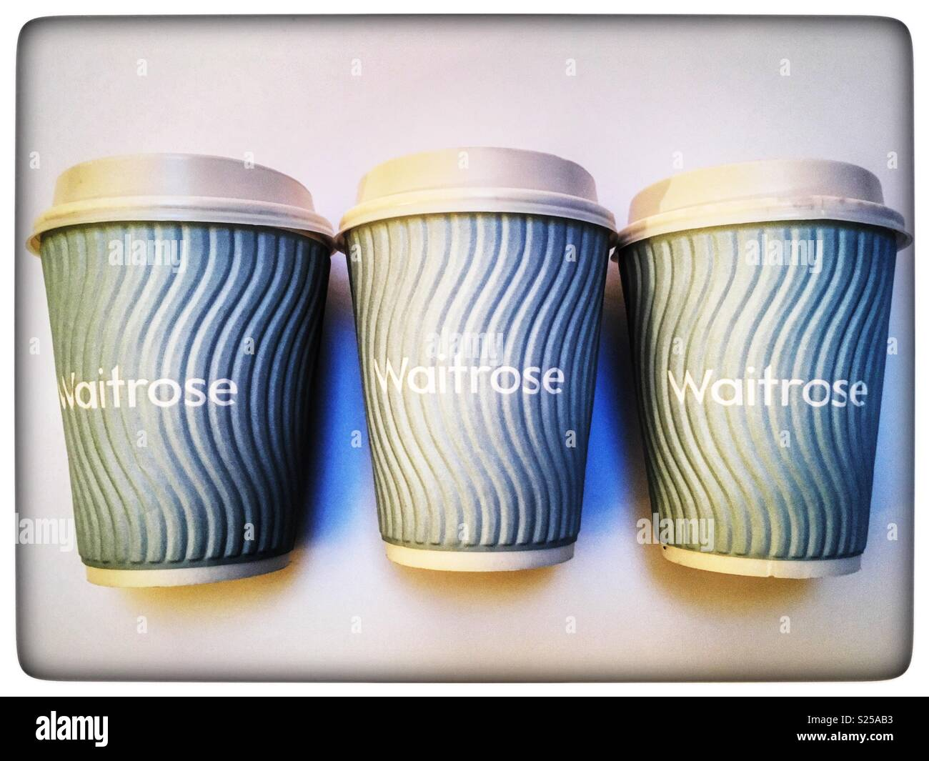 Waitrose non-recyclable coffee cups which are no longer being used - Stock Image