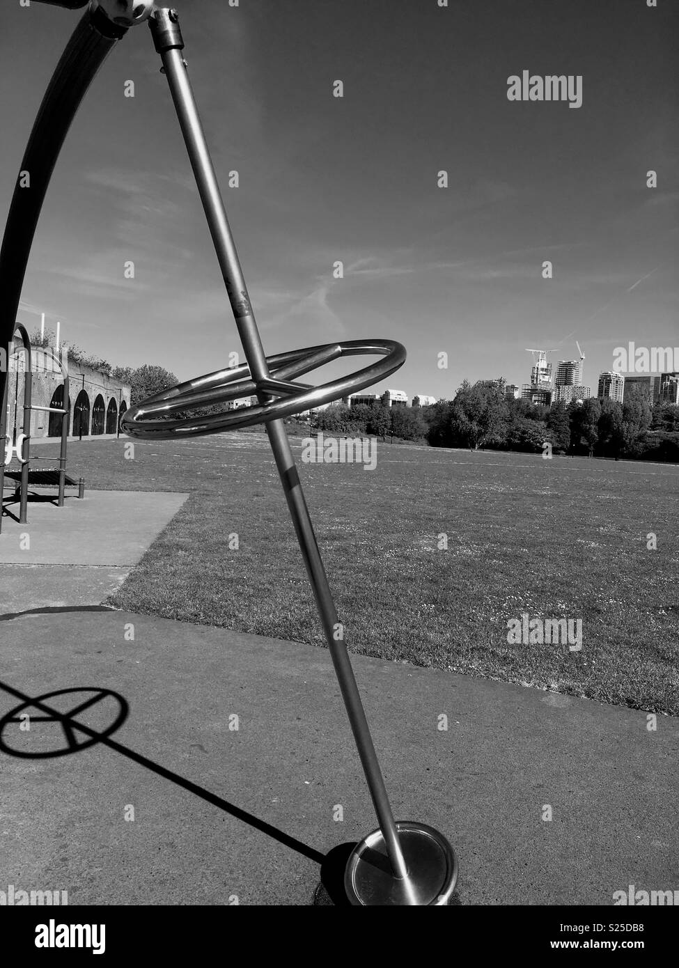 Metal Pole for Exercise in the Park - Stock Image