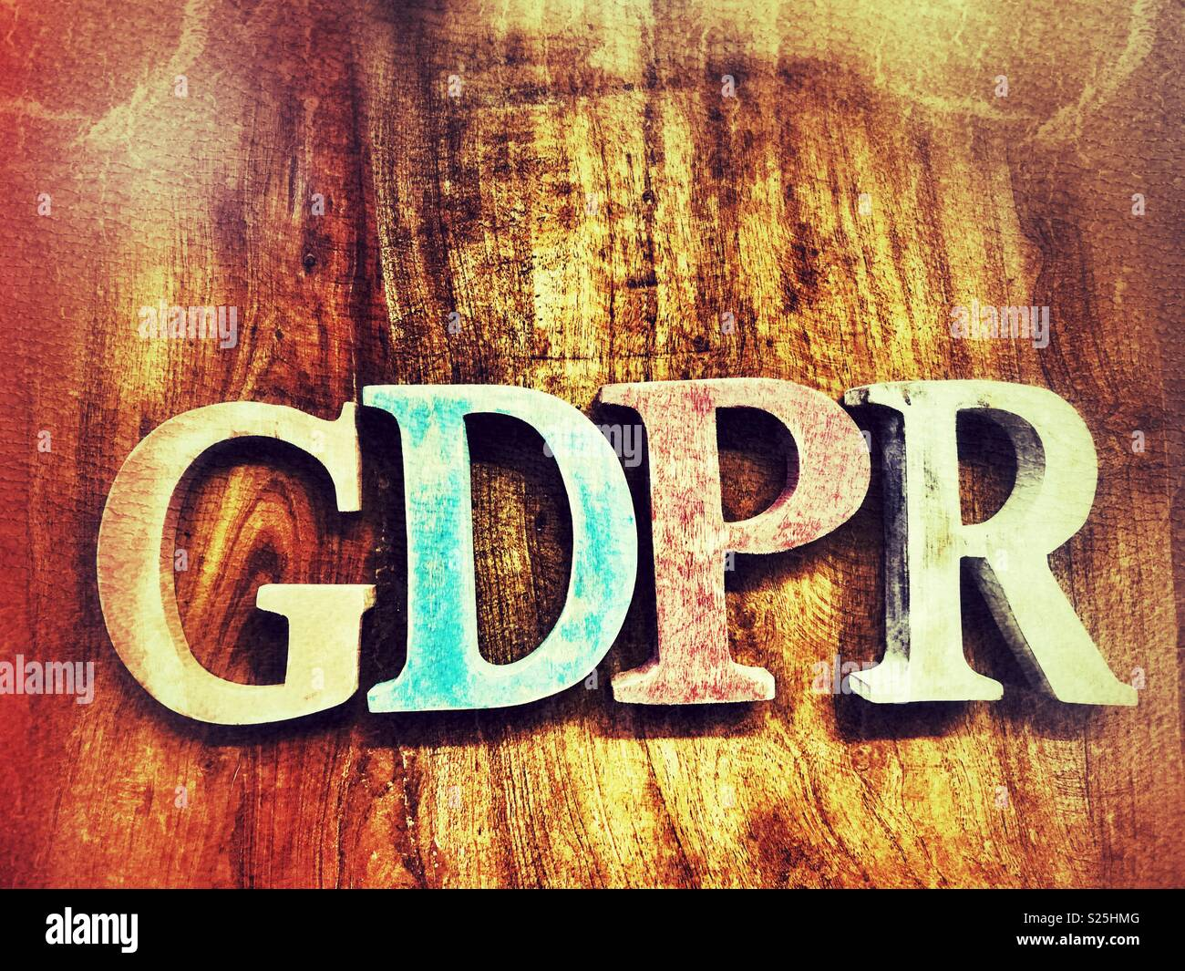 GDPR spelt out in lettering - Stock Image