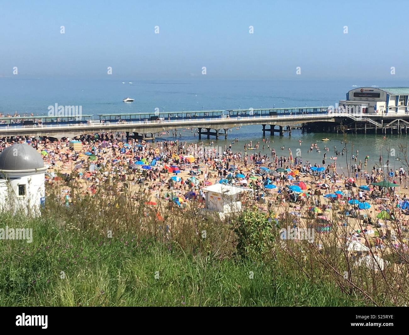 Bournemouth beach crowds - Stock Image