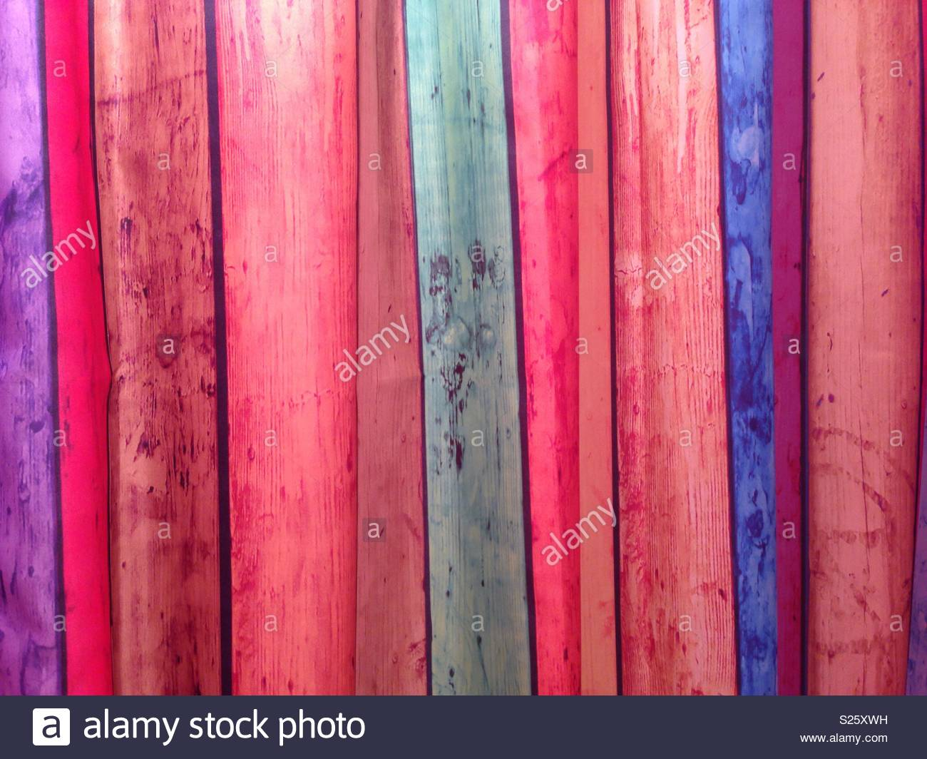 Close Up Of The Pattern And Fabric A Colourful Wood Effect Shower Curtain