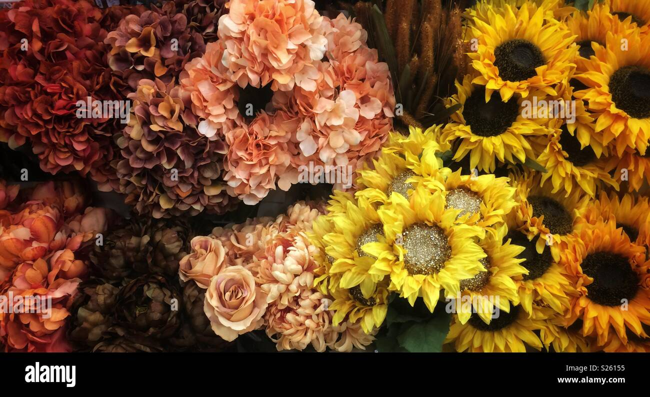 artificial flowers in fall colors stock photo 311148577 alamy