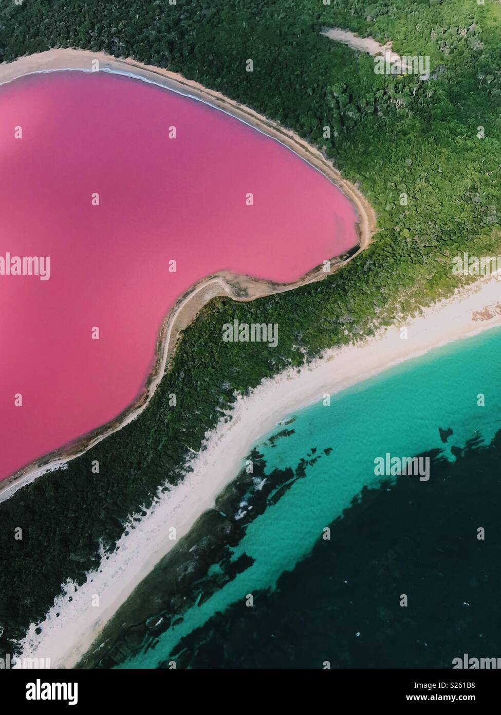 Pink lake at Esperance - Stock Image