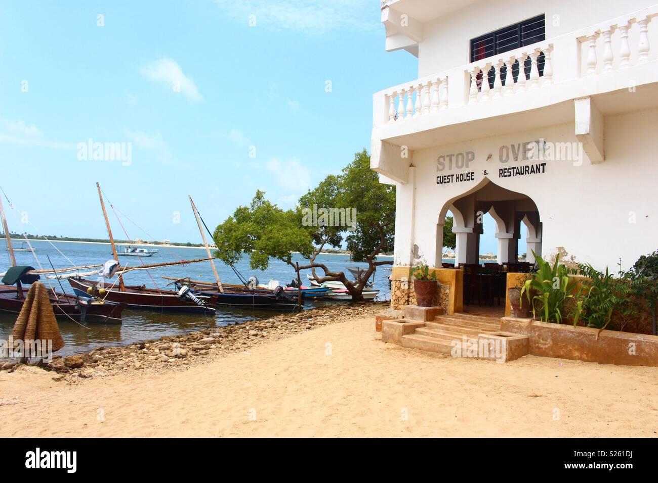 The beach outside stop over guest house at Shela, Lamu Island, Kenya - Stock Image