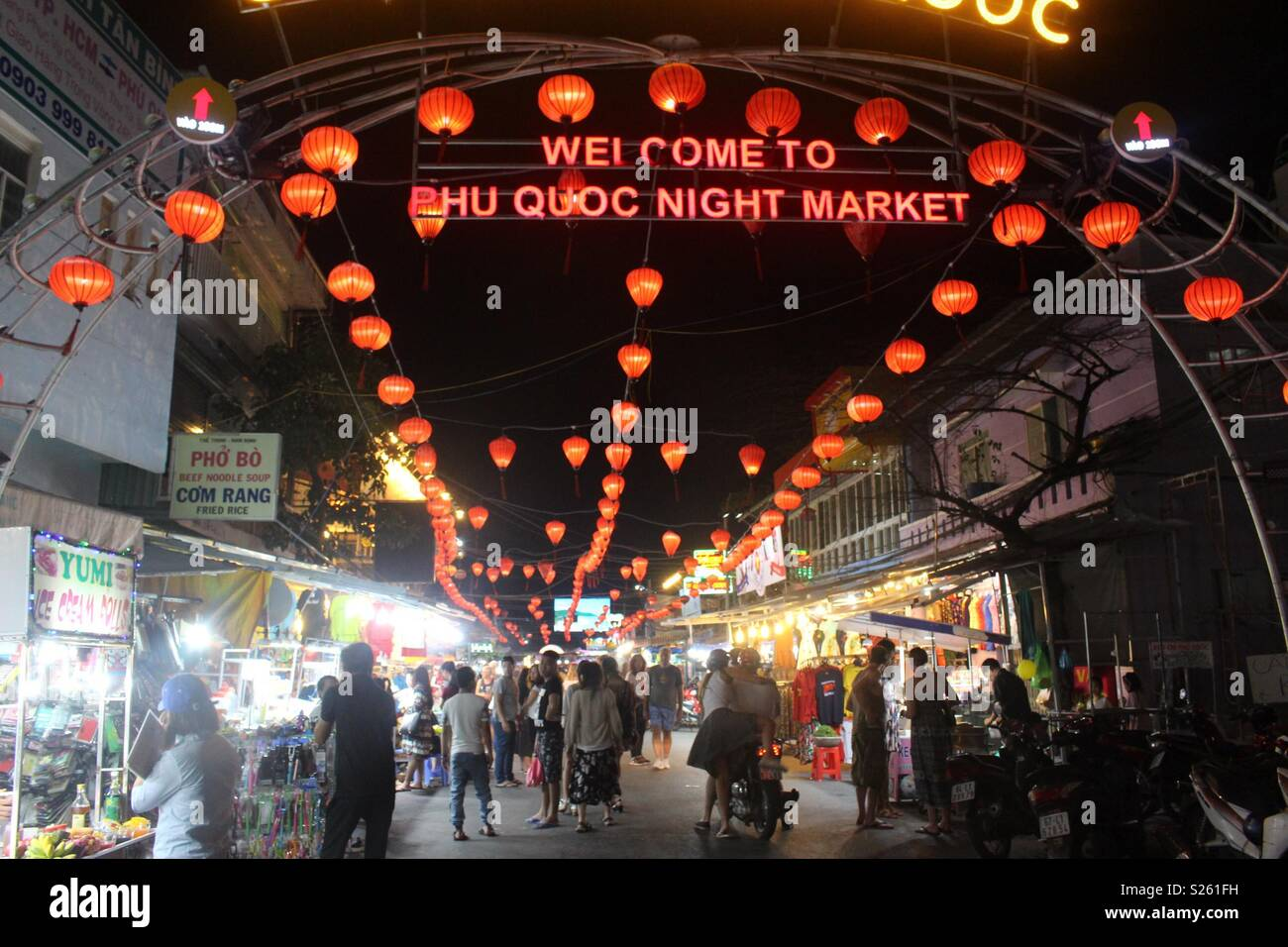 Welcome to Phu quoc night market sign - Stock Image