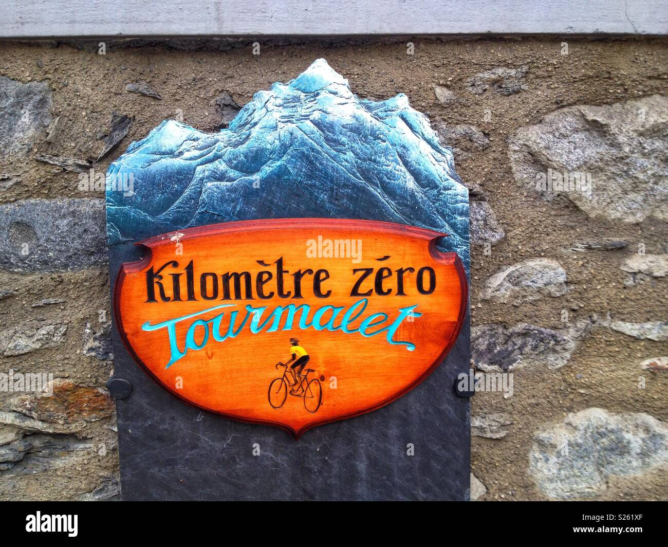 Plate indicating the start of the ascent of the Col du Tourmalet by bike, Luz St Sauveur, Hautes-Pyrenees, Occitanie France Stock Photo