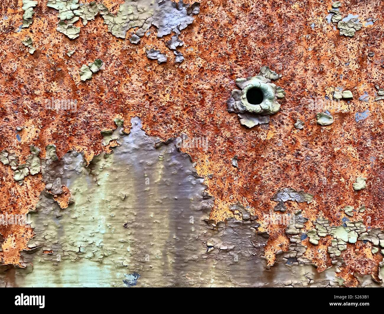 Bullet hole in rusty steel bridge beam in the Adirondack Mountains, NY wilderness - Stock Image
