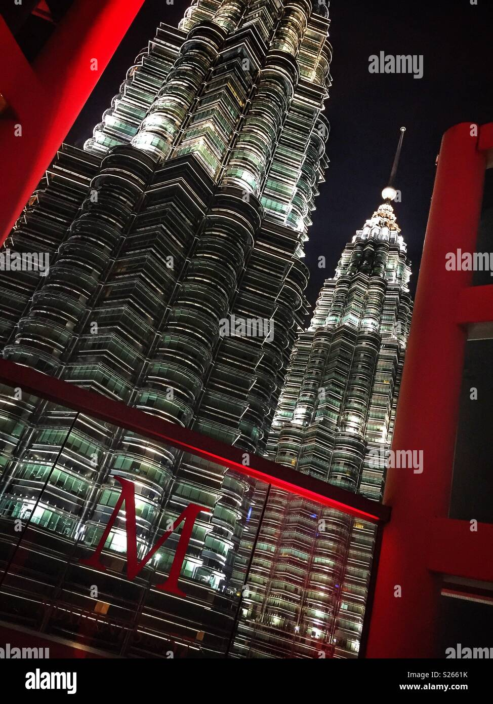 Petronas Twin Towers from Marini's On 57, the highest restaurant and bar in Malaysia, on the rooftop of the adjacent Petronas Tower 3, Kuala Lumpur City Centre - Stock Image