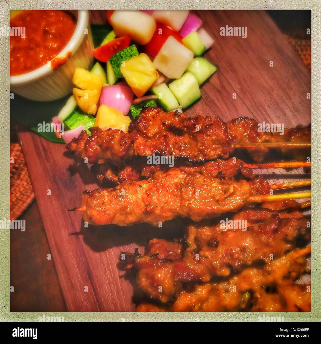 Satay, Bayang Restaurant, Riverside Point, Clarke Quay, Singapore - Stock Image