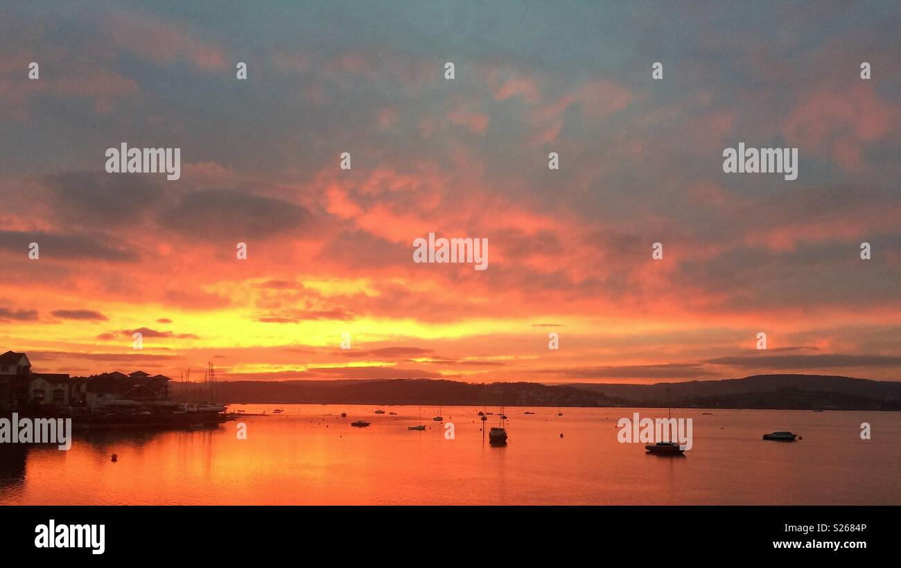 Sunset at Exe Estuary, Exmouth, Devon - Stock Image