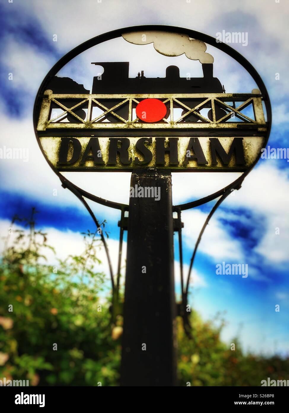 Darsham village sign, Suffolk, England. - Stock Image