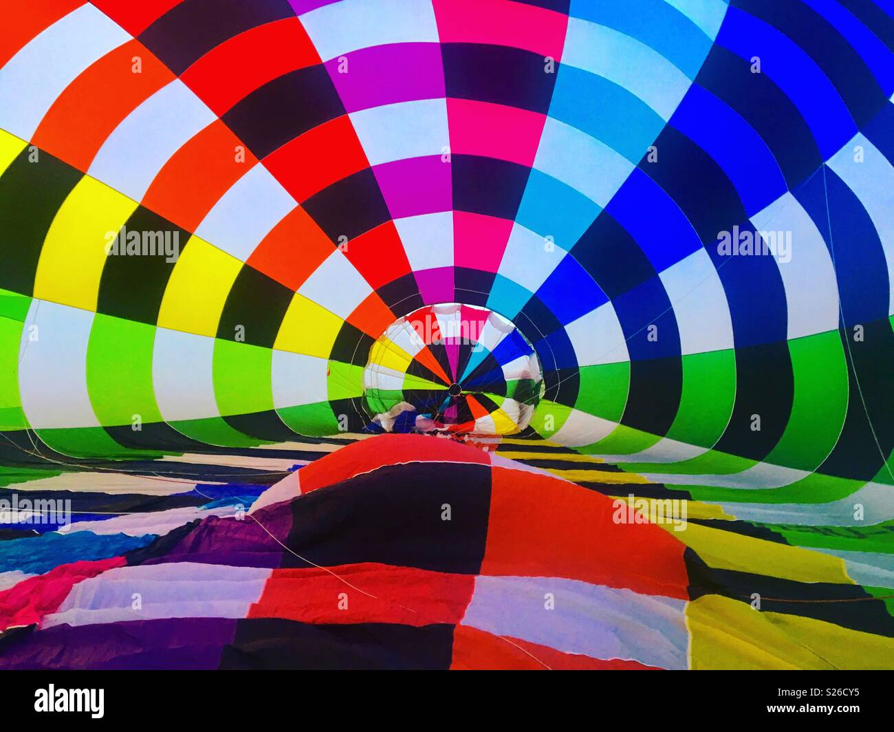 Hot Air Balloon inflation - Stock Image