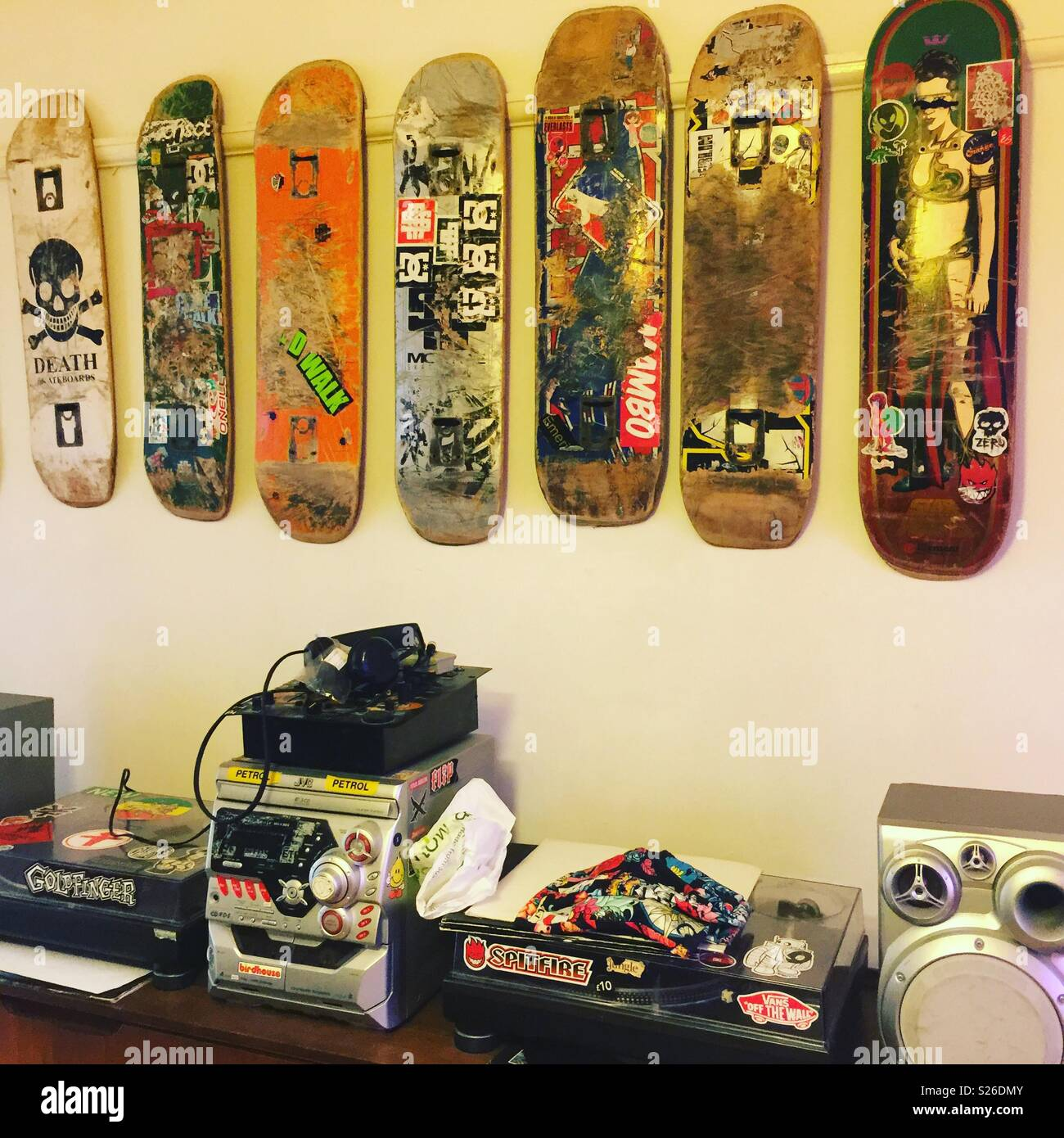 Used skateboards Stock Photo: 311158427 - Alamy