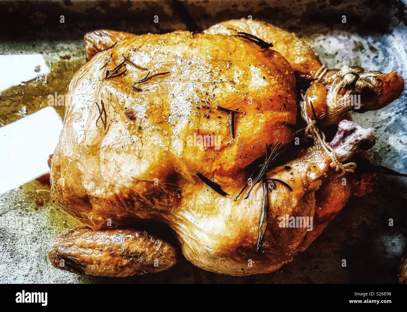 Roast chicken, midweek. Simplicity at its best - Stock Image
