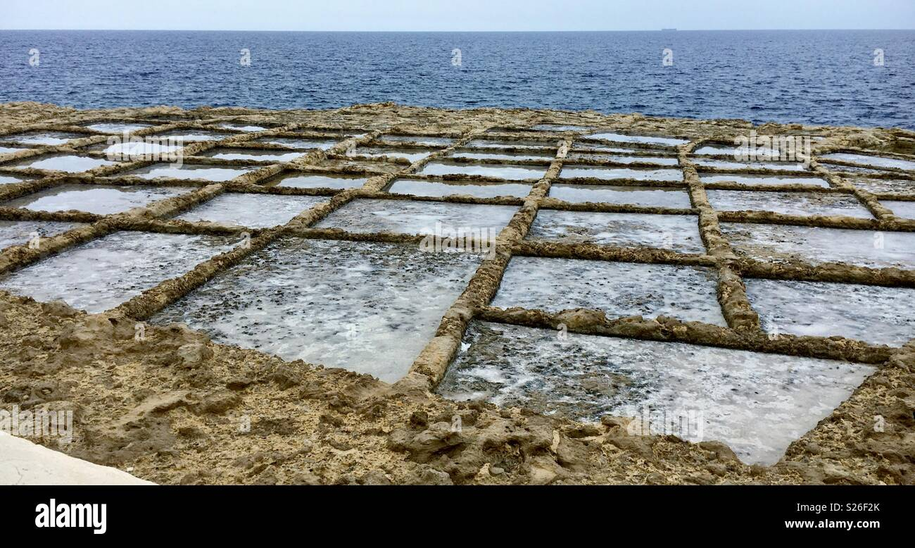 Salt pans Gozo Malta - Stock Image