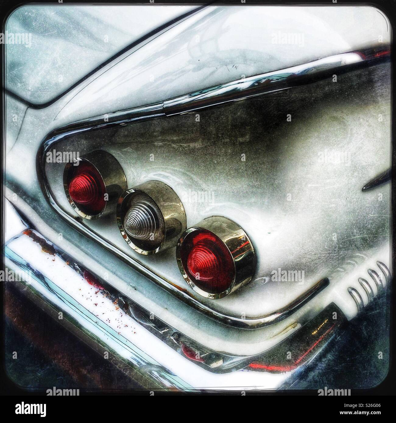 Detail of a 1958 Chevrolet Impala, used as street dressing in the Hollywood Boulevarde attraction at Universal Studios theme park, Sentosa, Singapore - Stock Image