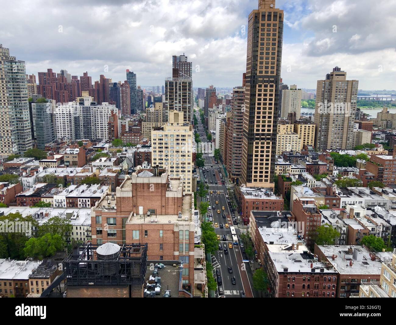 Manhattan from Hi rise rooftop - Stock Image