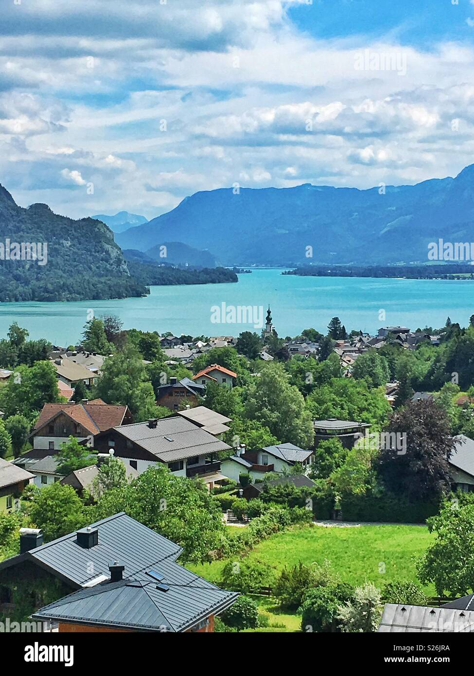 Sankt Gilgen and Lake Wolfsgang in Austria - Stock Image