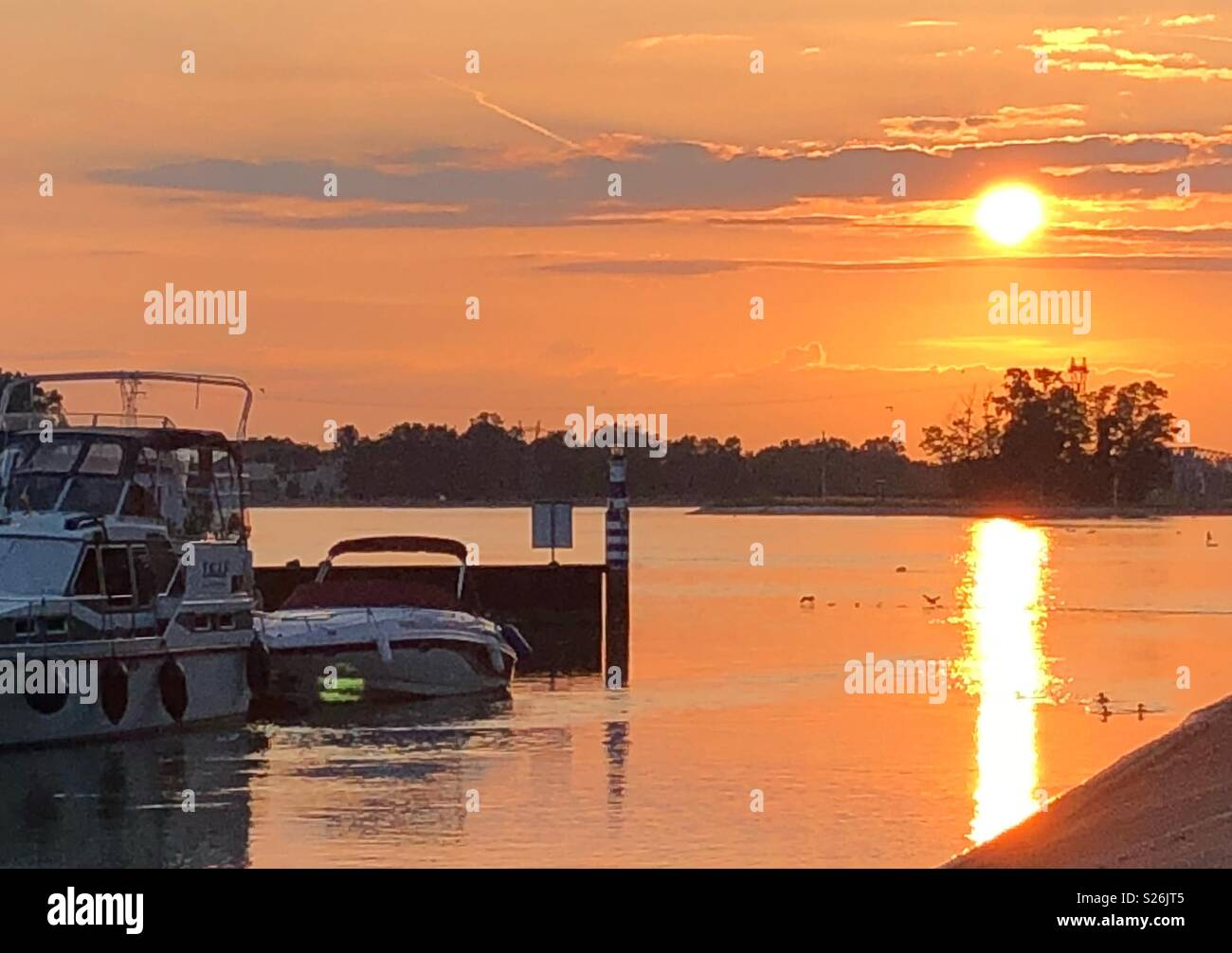 Sunset over the river Rhine - Stock Image