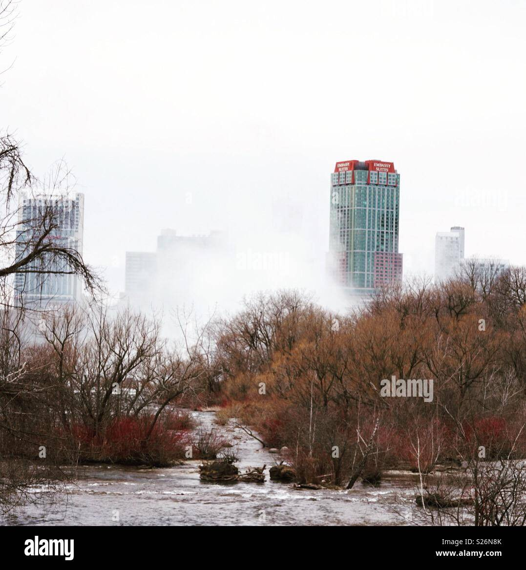 This is a photo of the mist over Niagara Falls - Stock Image