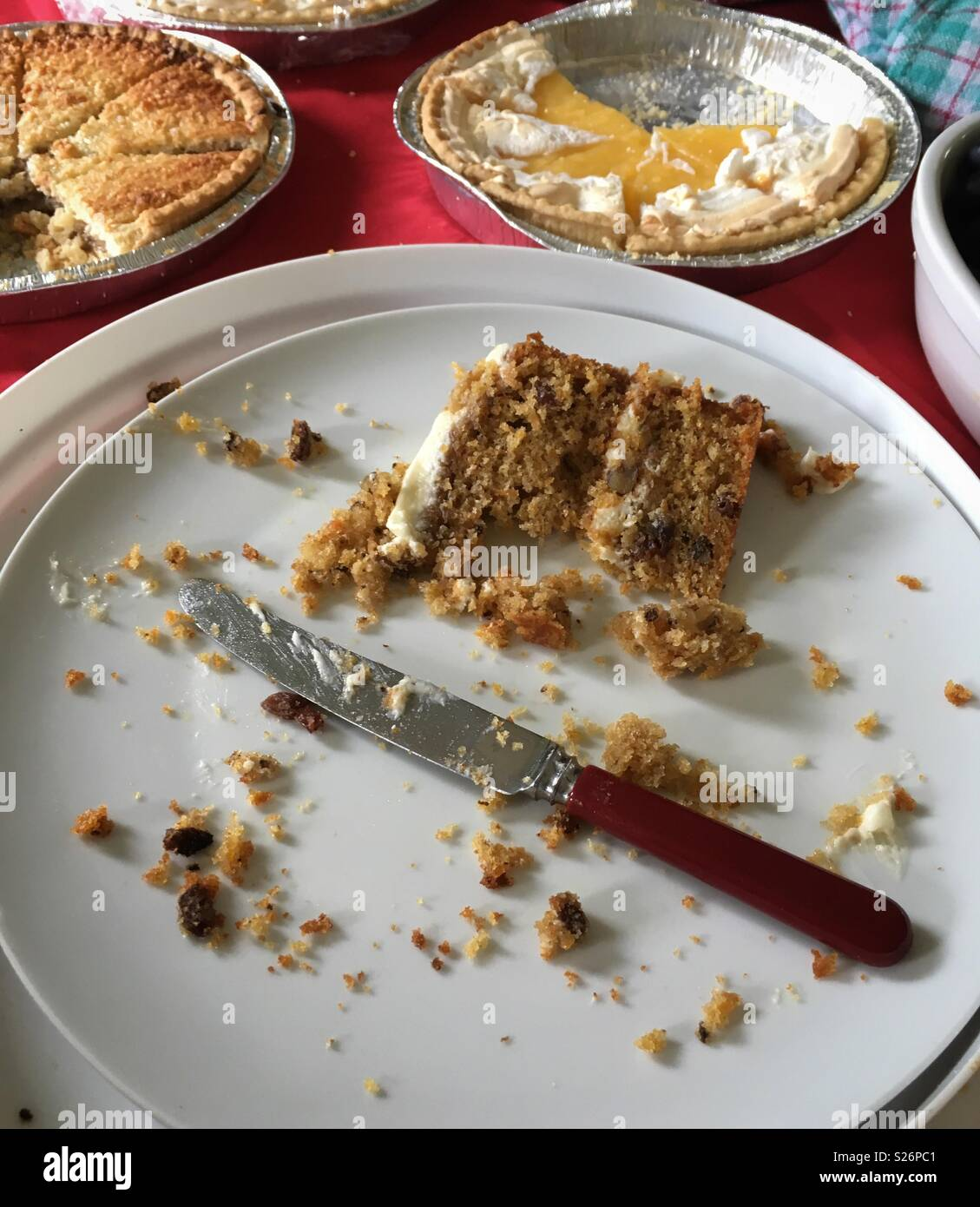 Why are people too polite to take the last slice?! My home baked carrot cake. - Stock Image