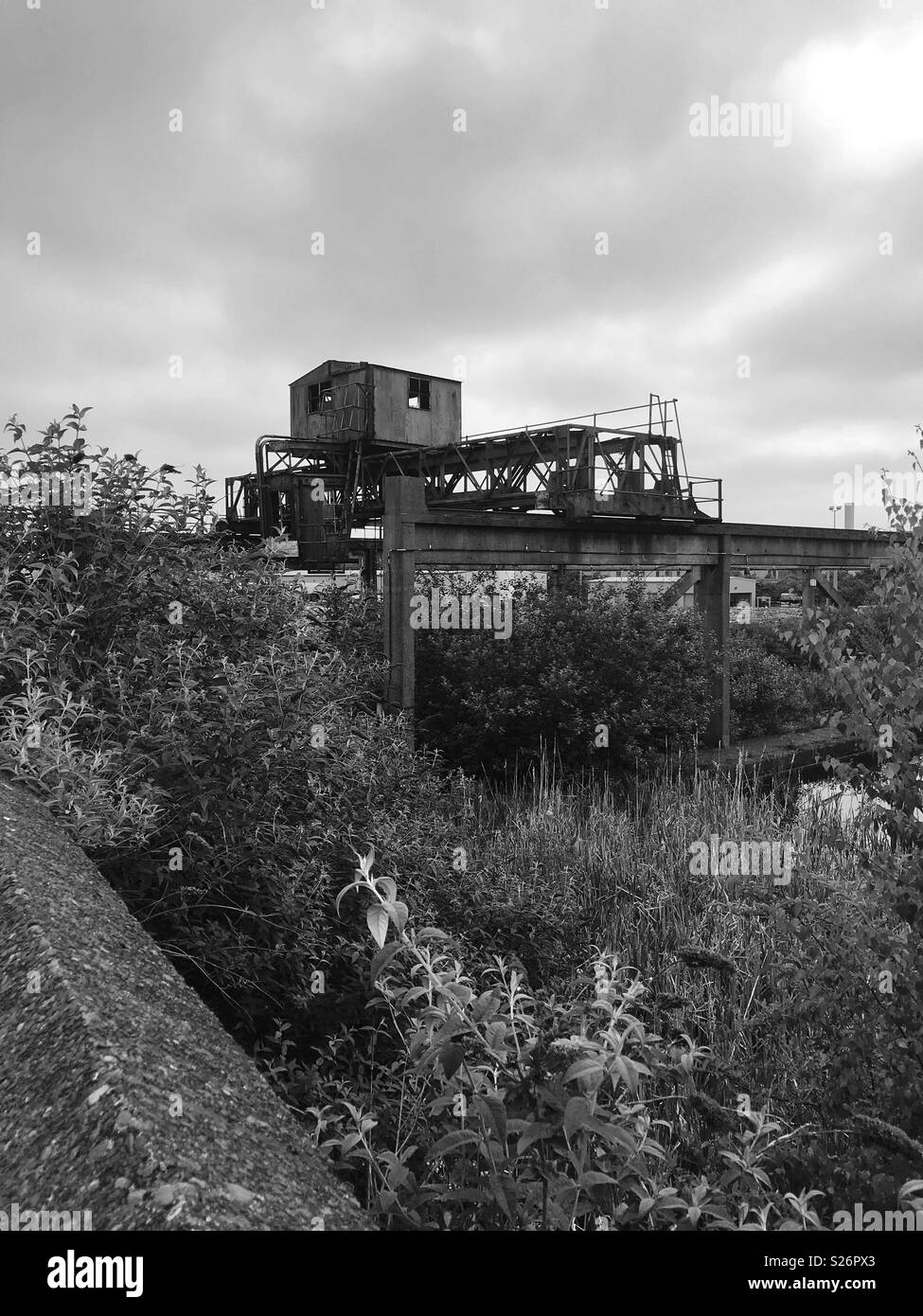 View of a boat yard along the towpath. - Stock Image