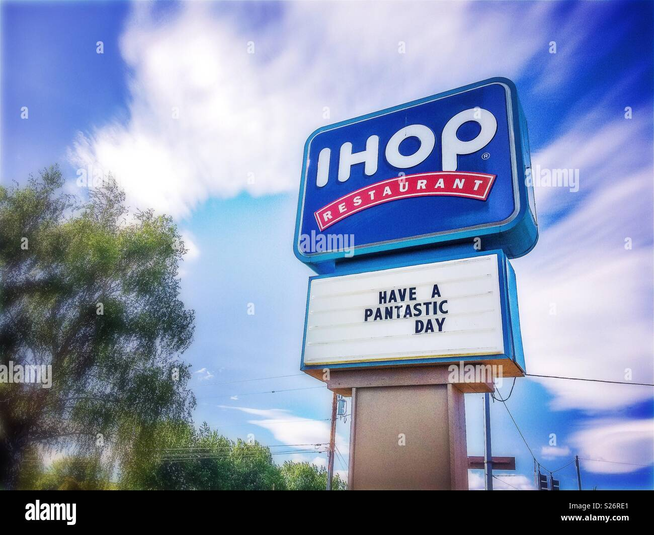 IHOP Restaurant sign with logo and play on words: have a pantastic day, Bend, Oregon, USA. - Stock Image