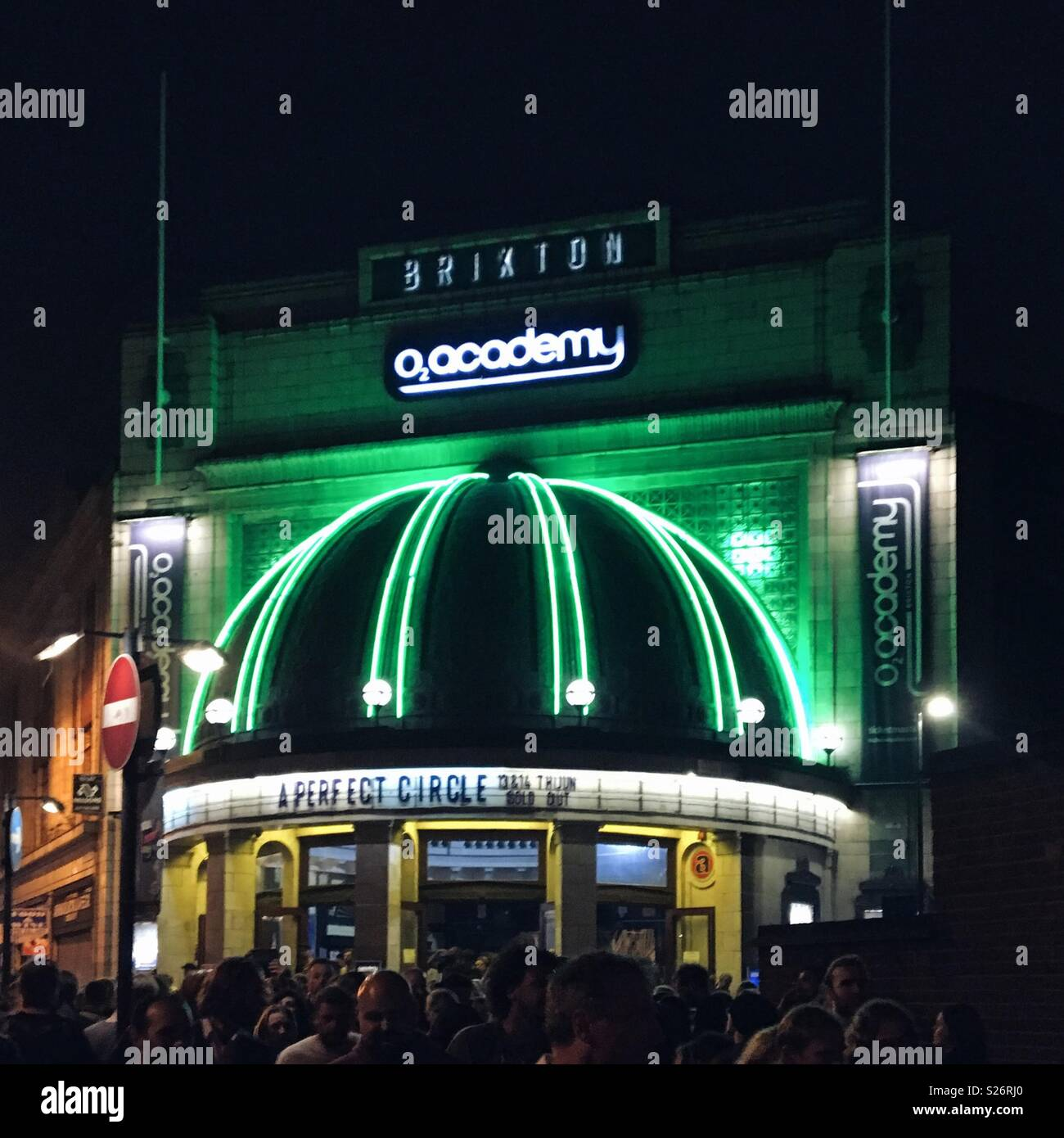 Exterior of o2 Brixton Academy at night with A Perfect Circle on the bill Stock Photo