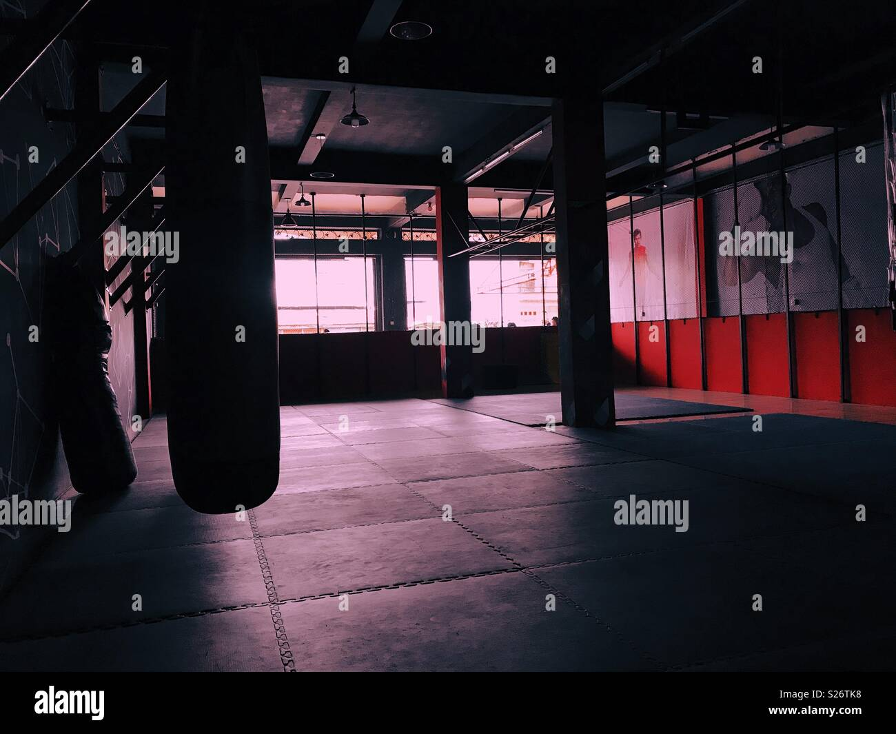 At gym in little light - Stock Image