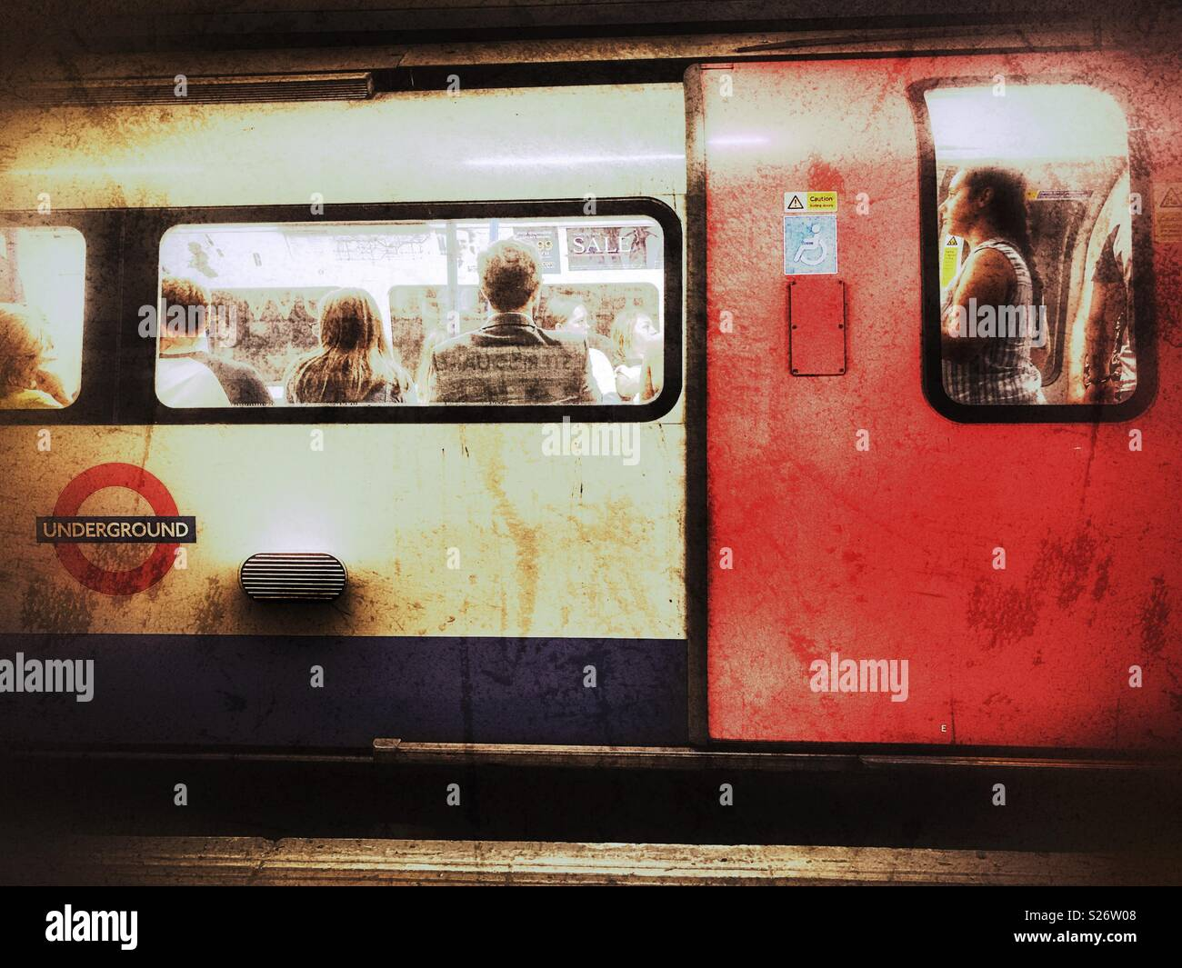 London Underground, People on a Northern Line tube train, Leicester Square tube station, London, England - Stock Image