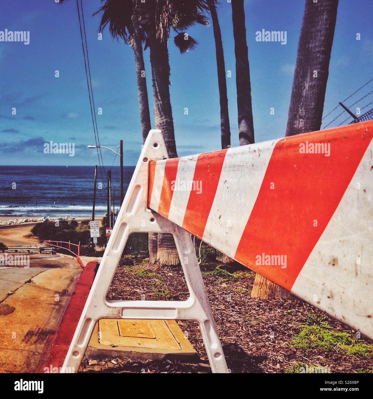A traffic barricade near the beach in El Porto, California - Stock Image