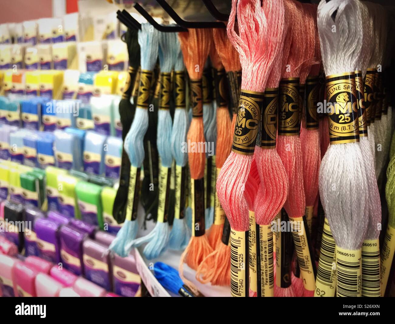 Embroidery Thread Display In The Garment District Nyc Usa Stock