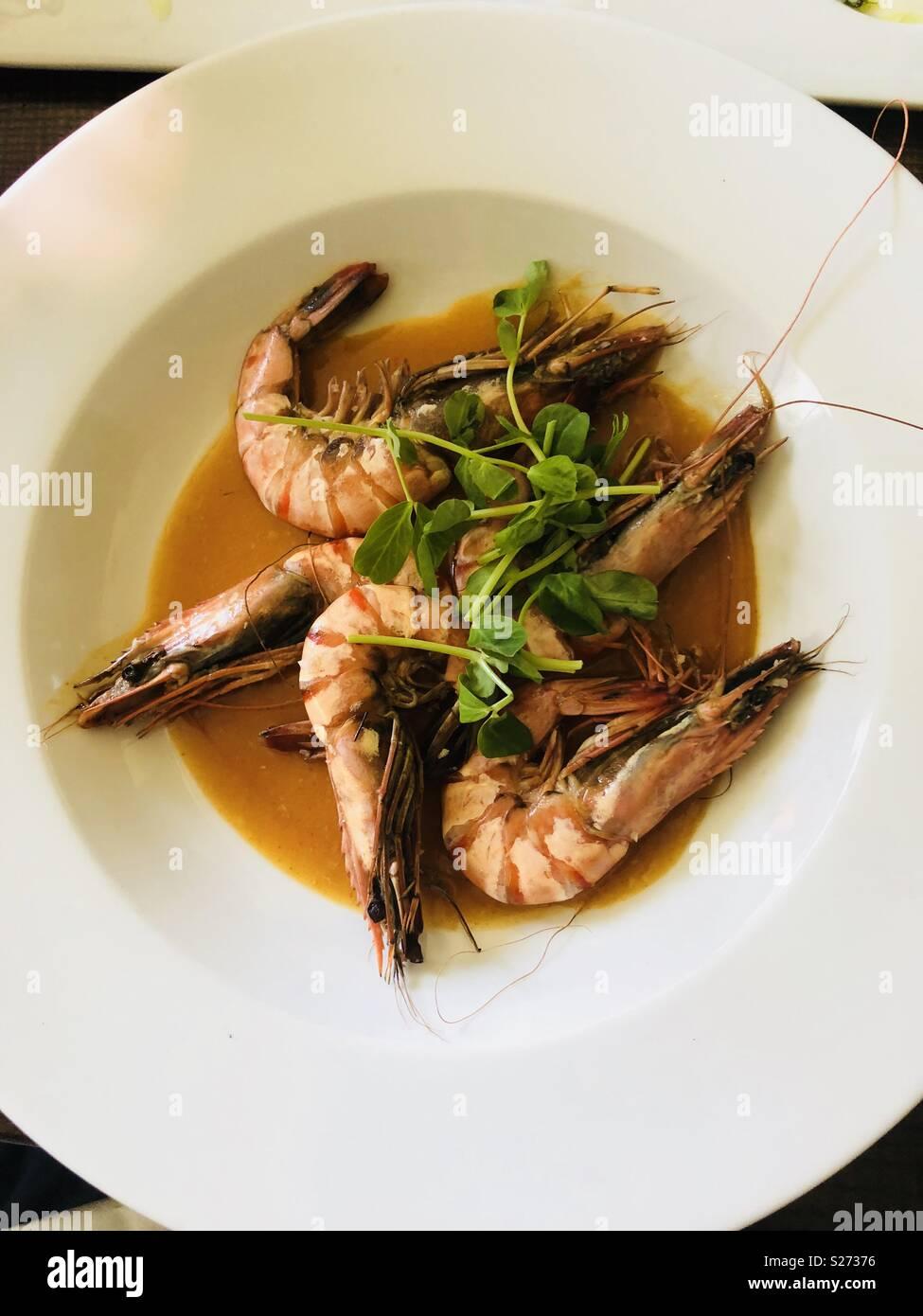Garlic prawns - Stock Image