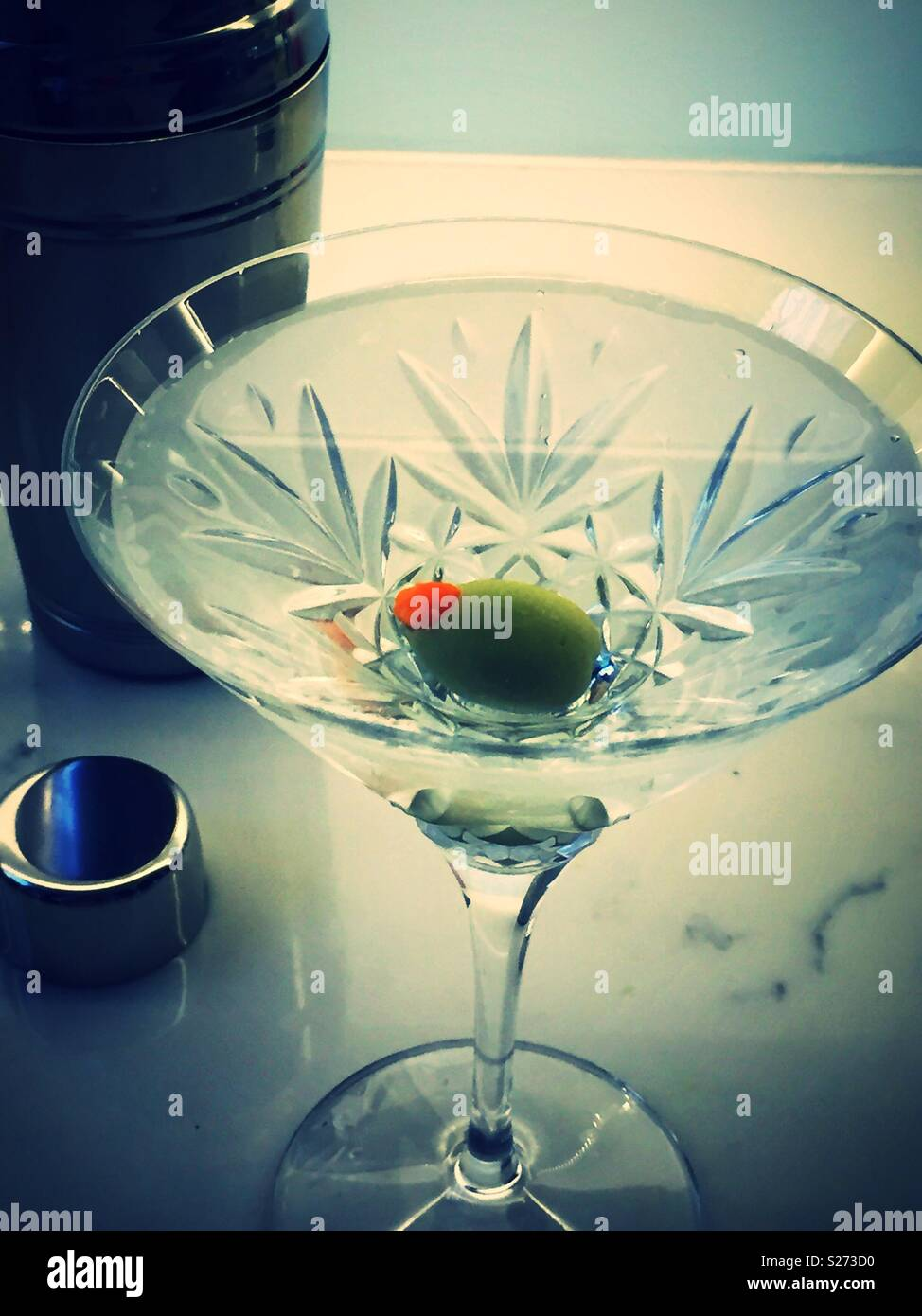 Still life of classic martini in a Waterford crystal martini glass, USA - Stock Image