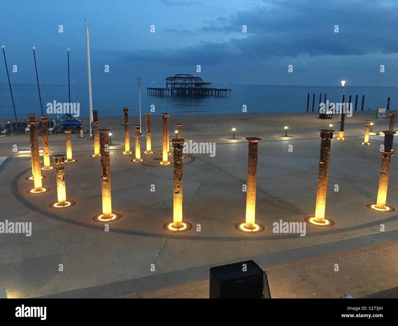 Brighton Pier by night - Stock Image