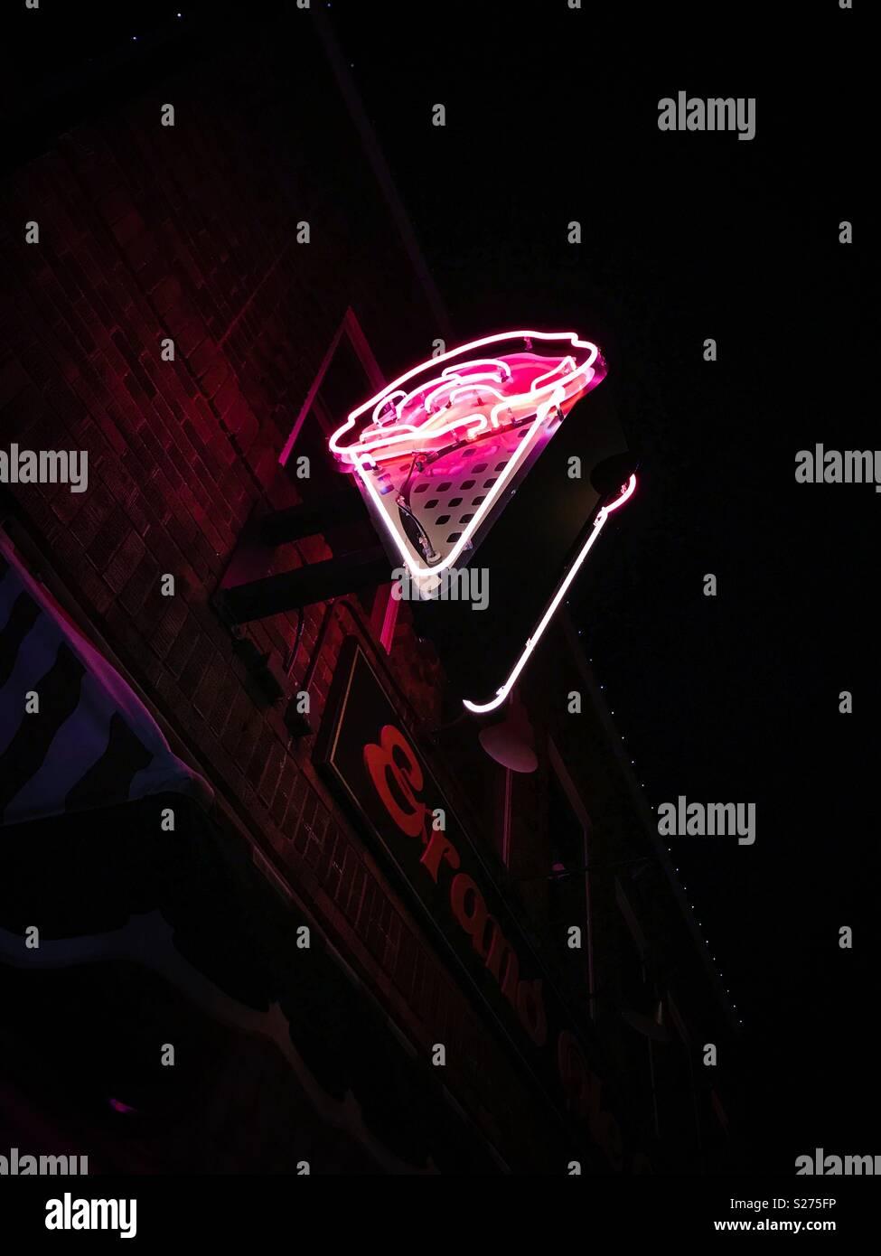 Neon ice cream - Stock Image