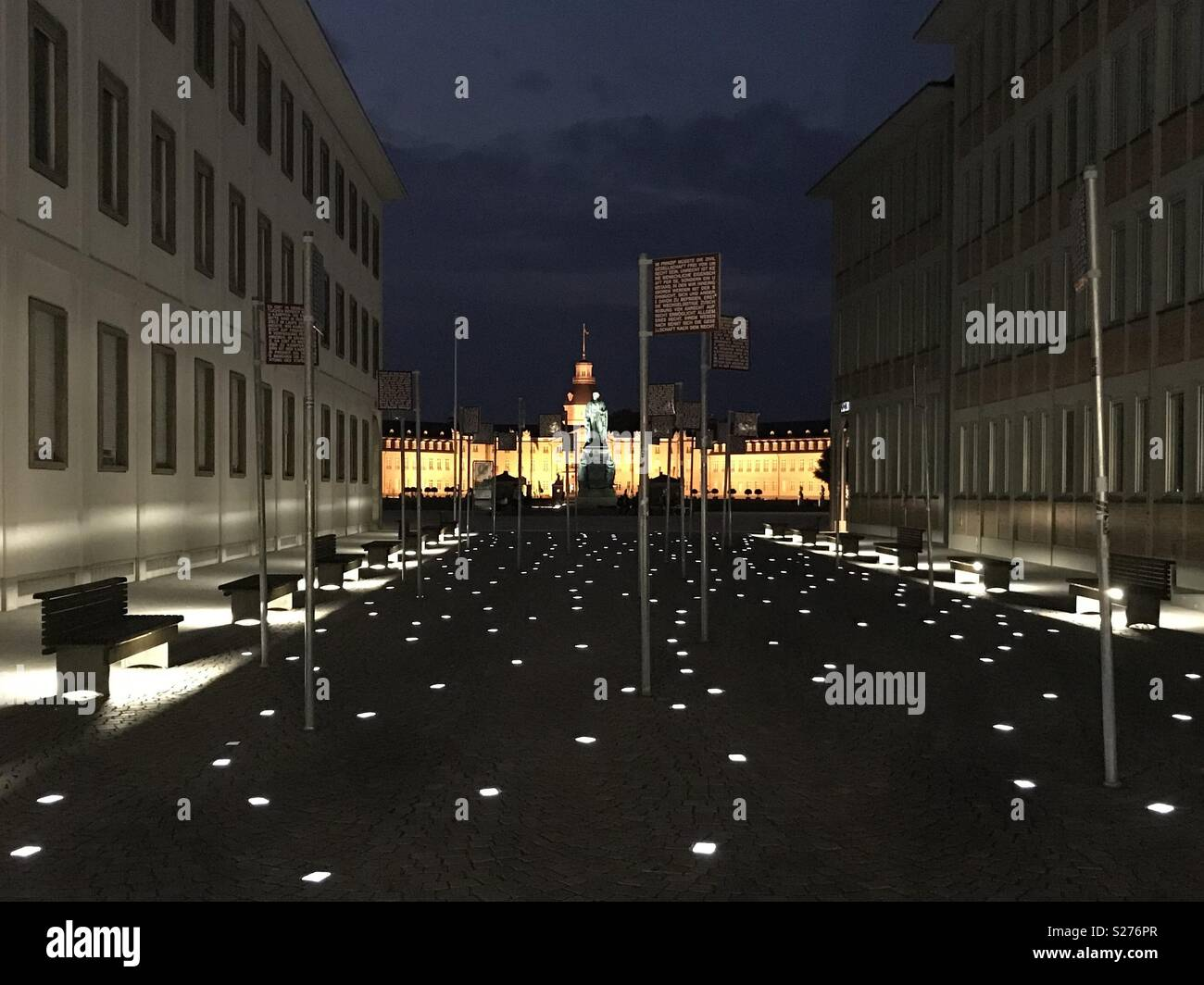 palace from Karlsruhe at night and the fundamental rights square lights - Stock Image