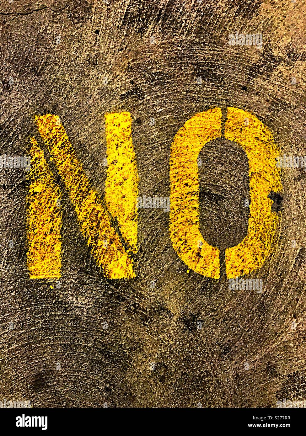 No in yellow, capital letters - Stock Image