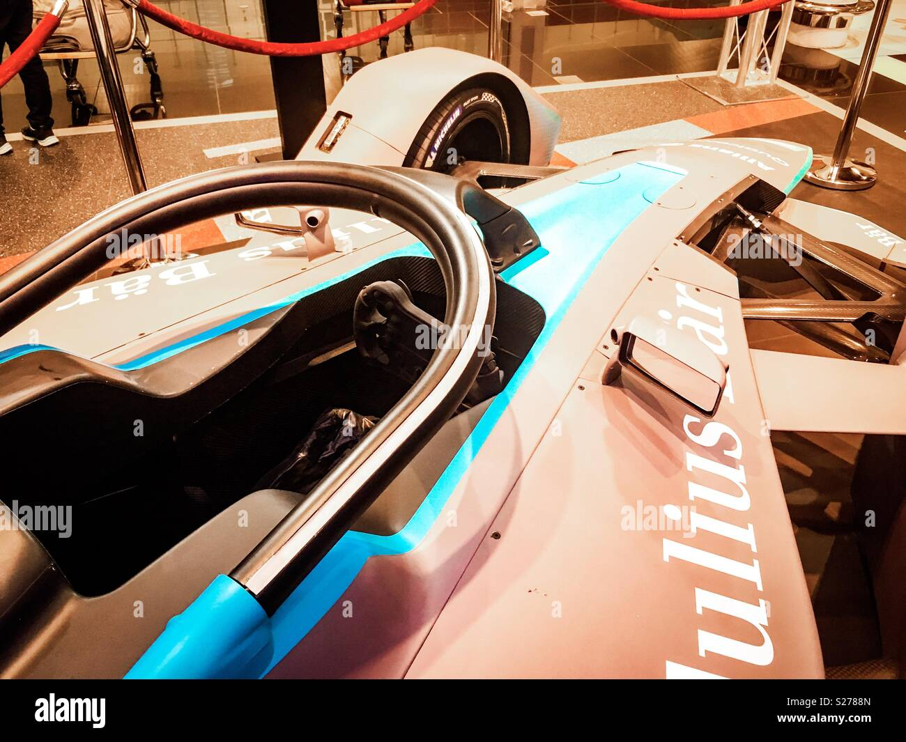 Formula E  excibition car in Barcelona airport, Catalonia, Spain - Stock Image