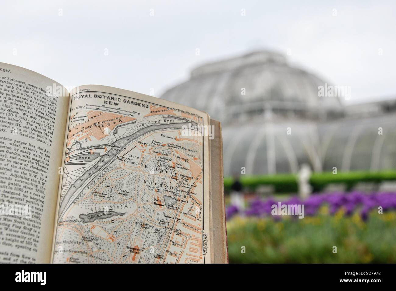 An Antique Map Of Kew Botanical Gardens Against A Backdrop Of The