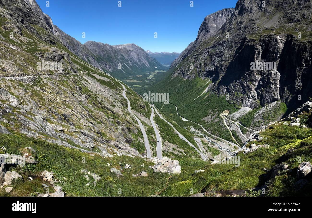 Trollstigen pass, Norway on a bright summer day. - Stock Image