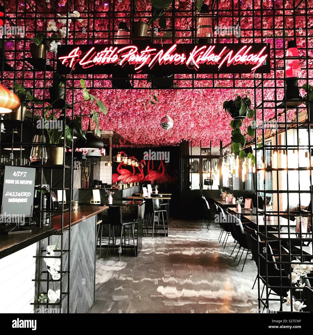 Bar with neon sign in Copenhagen - Stock Image