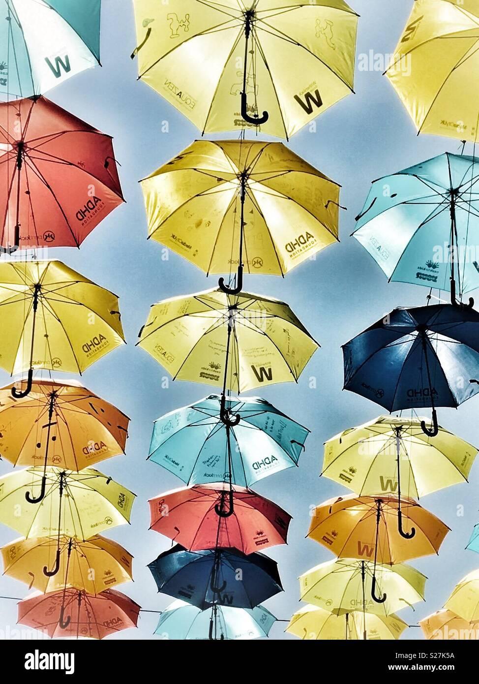 Colourful umbrellas. - Stock Image