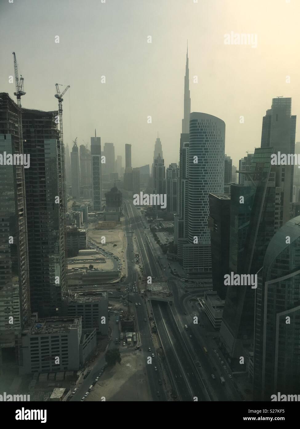 Dubai sky scrapers. - Stock Image